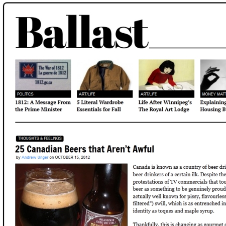 Ballast Picks 25 Canadian Beers That Aren't Awful
