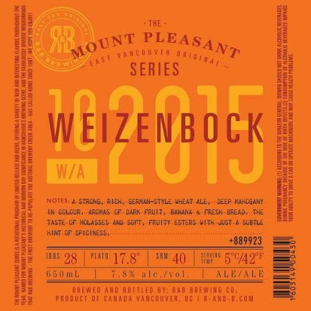 R&B Brewing Mount Pleasant Series Continues with Weizenbock
