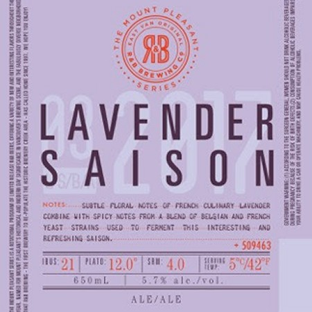 R&B Brewing Mount Pleasant Series Continues with Return of Lavender Saison