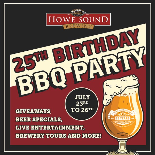 Howe Sound Brewing Celebrating 25th Anniversary This Weekend