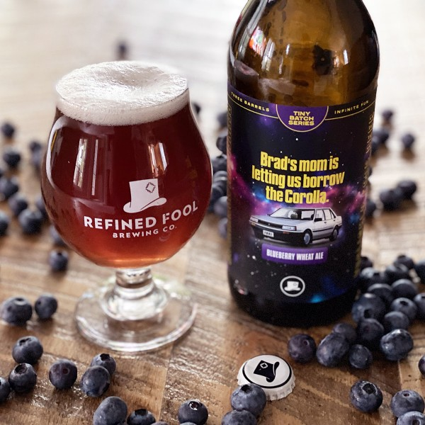 Refined Fool Brewing Releases Brad's Mom Is Letting Us Borrow The Corolla Blueberry Wheat Ale